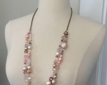 Beaded necklaces, pink necklaces, long necklaces, vintage pink, shabby chic, french, original design, FREE SHIPPING