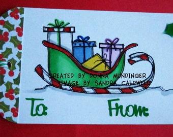 1247 Santa Candy Cane Sleigh Digi Stamp