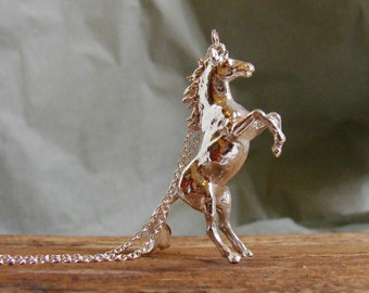 Wild Horse Necklace, Chinese Zodiac, Year of the Horse,Animal Jewelry, Animal Necklace,Mustang, Horse Jewelry, Equestrian