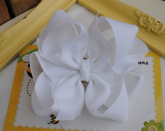 Big White Bow - Wedding Hair Clip - Large White Bow Clip - Double Hair Bow - 4 Inch Bows - 8 Loop Hair Ribbon - Big Cheer Bow - Baptism Bow