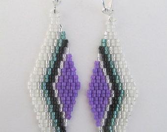 Seed Bead Chevron Earrings - Purple/Teal