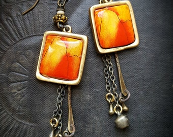 Enameled Charms, Enameled Earrings, Tribal, Vintage, Chain, Earthy, Organic, Rustic, Beaded Earring