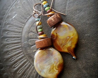 Lampwork Glass, Lampwork Headpins, Czech Glass, Vintage, Wood, Artisan Made, Earthy, Rustic, Organic, Beaded Earrings