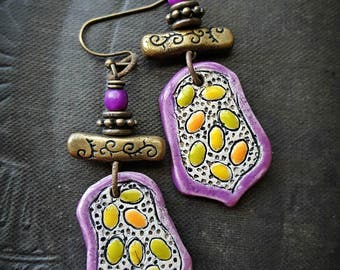 Clay, Ceramic, Brass, Easter Eggs, Easter Earrings, Vintage Beads, Glass Flowers, Organic, Rustic, Boho, Unique, Beaded Earrings