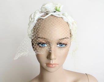 Vintage Bridal Veil - Ivory White Floral Headband with Veil - 1960s Netted Headband - Spring Wedding Style