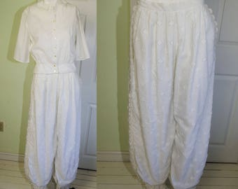 Vintage 1980's Giorgio Sant'Angelo White Bloomer Style Pants