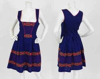 Vintage Austrian Dirndl Navy Cotton & Hot Pink Trim Floral Embroidered Folk Dress Sz S M
