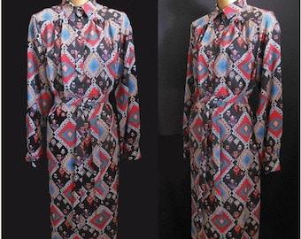 33% OFF SALE Vintage 90s Liberty of London Shirt Dress, 1990s Shirtdress, Tribal Abstract Print, Original Belt, Size M to L
