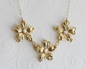 Gold Lily Necklace Gold Flower Necklace Gold Flower Pearl Necklace Bridesmaid Necklace