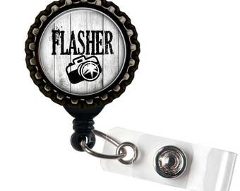 FLASHER -  Camera - Photographer - Black Retractable Badge Reel ID Holder