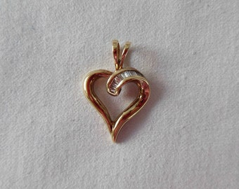 Gold Heart with Diamonds Charm
