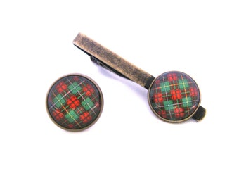 Scottish Tartan Jewelry - Ancient Romance Series - CHOICE OF ONE Bruce Hunting Clan Tartan 16mm Tie Tack or Tie Clip