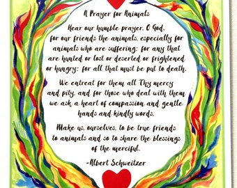 PRAYER for ANIMALS 8x11 Rescue Poster Albert SCHWEITZER Catholic Inspirational Motivational Meditation Heartful Art by Raphaella Vaisseau