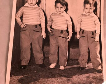 Vintage Black and White 8 x 10 Photograph of Three Brothers Dressed Alike