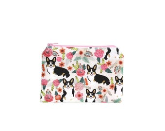 CHOOSE SIZE Cardigan Corgis in the Garden Zipper Pouch / Welsh Corgi Camera Bag on Cream / Make Up or Coin Pouch