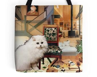 Tote Bag - Virgo StarCat - zodiac astrological collage art for the cat lover