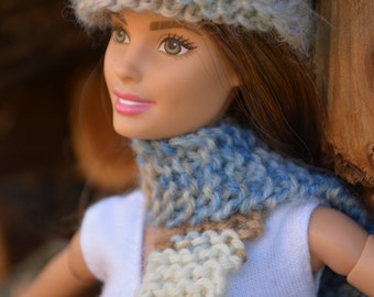 Barbie Hand Knitted Varigated Blue Gray Tan Hat and Scarf Set