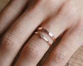 Shining Deity Ring Set | 14k Rose Gold and Diamond Set |  Nature Inspired Rings