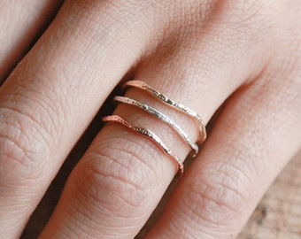 Warrior Trio Set | 14k Gold, 14k Rose Gold and Silver Ring Set |  Nature Inspired Rings
