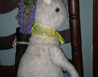 Primitive Folk Art Handmade Cone Bunny Rabbit  Lavender Sweetannie