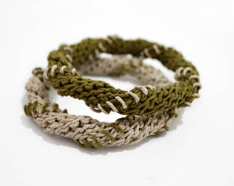 Hemp bangles,hemp bracelets,stacking bangles,olive green,fiber bangles,set of two,boho chic,ethnic jewelry,spiral,gift for her,vegan