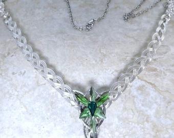 Green Evenstar Necklace Half-Torc Celtic Weave