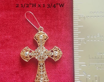 Madonna 80s Style Large Cross Earring~ One Only~ Quality Gold n Crystal~ 1980's Look Fashion Accessories~ Fancy Dress~ Gothic Punk~ Eighties