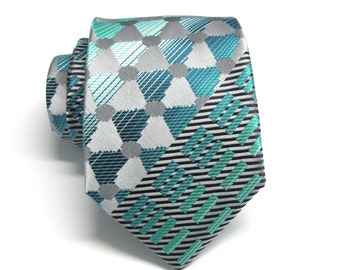Mens Tie. Silver Gray Teal Green Mens Necktie with Matching Pocket Square Option