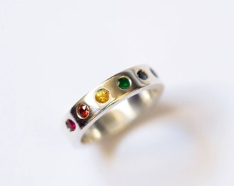 Rainbow Ring, Sterling Silver, Handmade Rainbow Eternity Band, Gem Quality Precios Stones,  Made in Brighton, uk