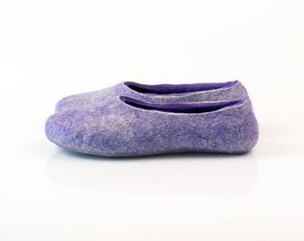 Purple women's wool slippers Felted wool slippers decorated with natural silk and alpaca wool Gift for her