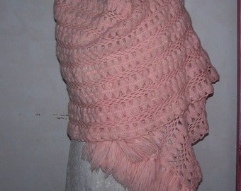 Vintage Pink Crocheted  Mohair Wrap
