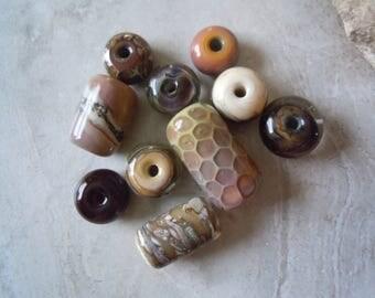 Mixed Mocha and Fine Silver. Organic Handmade Lampwork Glass Bead Set. Jewelry Supply. LWS-76