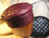 RESERVED for MPOLOBLUE/ Two Leather Quilted Top Kufi Hats in Burgundy and Black