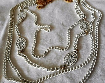 Monet VINTAGE 4 Strand White Painted Chain Metal Costume Jewelry Long Necklace