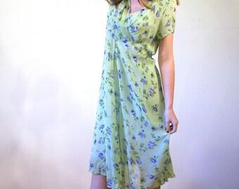 90s April Cornell Dress, Light Green Floral Dress, Sheer 30s Style Dress, Rayon Retro Dress, Vintage Romantic 1930s Style Dress XS