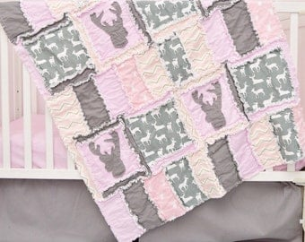 Deer Baby Blanket - Gray/ Light Pink Woodland Quilt - Baby Girl Nursery - Baby Rag Quilt - Hunting Quilt - Rustic Nursery - Mountain Nursery