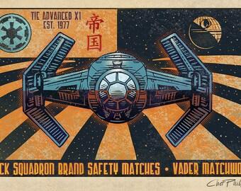 "Black Squadron Brand Matchbox Art- 5"" x 7"" signed matted print"