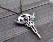 Steam Punk Jewelry Watch Gear Clock Gears Angel Wing Necklace Artisan Victorian Inspired SteamPunk Fashion