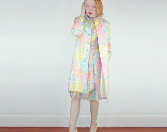 60s Gorgeous Pastel Flower Silk Dress and Coat by Harold Levine  S