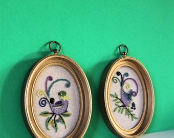 Vintage Embroidery Art / Vintage wall Hanging / Vintage Art / Bird Art / Bird Embroidery / Bird / Vintage Bird / Girls Room Art