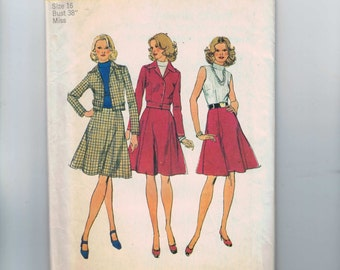 1970s Vintage Sewing Pattern Simplicity 5846 Misses Flared Skirt Dress and Cropped Fitted Jacket Size 16 Bust 38 1973 70s UNCUT