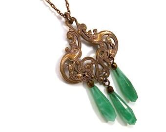 Art nouveau pendant necklace with jade green glass drops