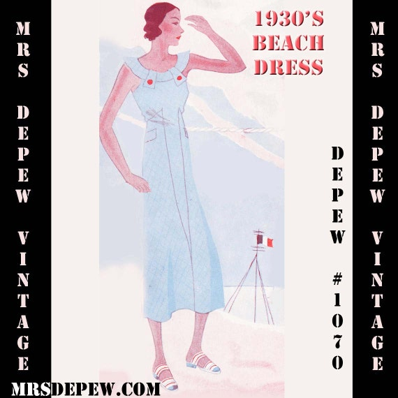 Vintage Sewing Pattern 1930's Beach Dress in Any Size Depew 1070- PLUS Size Included -INSTANT DOWNLOAD-