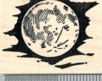 Full Moon Rubber Stamp, Cloudy Night Sky G31210 Wood Mounted