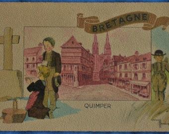 Postcard Quimper Bretagne Britanny France Artist Signed Gaston Marechaux Antique