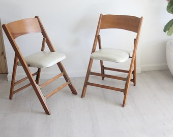 Mid Century Wood & Brass Folding Chairs (Set of 2)