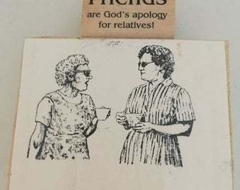 2 Funny Rubber Stamps - Friends