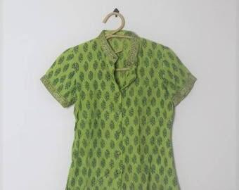 block print blouse // indian cotton gauze top