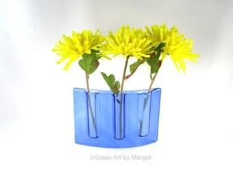 Curved Vase Fused Glass Pocket Vase Divided Test Tube Bud Vase Blue