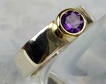 Amethyst ring, CZ ring, sterling silver and 9k gold, wide silver gemstone ring, wide band amethyst or CZ ring, gold setting, gift for her
